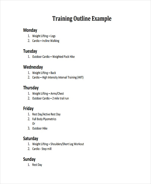 weekly training outline