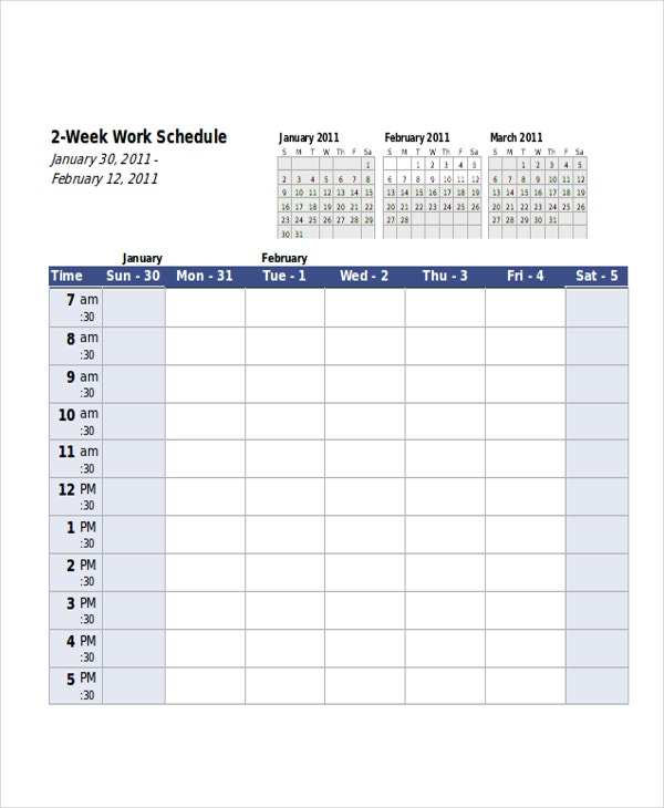 6 week schedule template