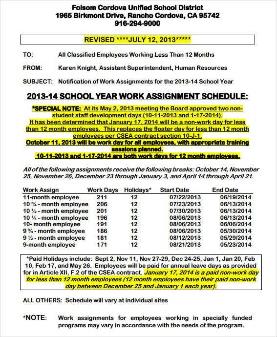 10 assignment schedule templates sample examples for Vesting schedule template
