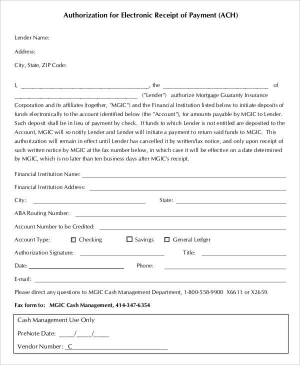 authorization for electronic receipt work authorization