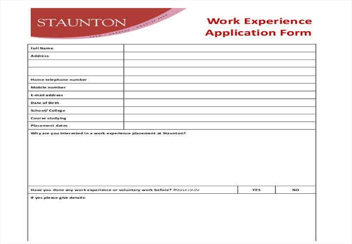 work experience application form