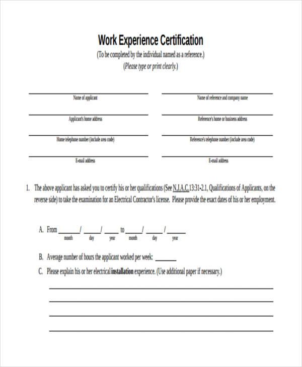 work experience certificate