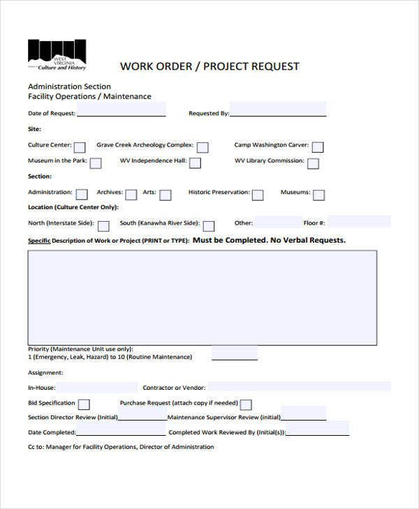 work order templates 10 free word pdf format download free