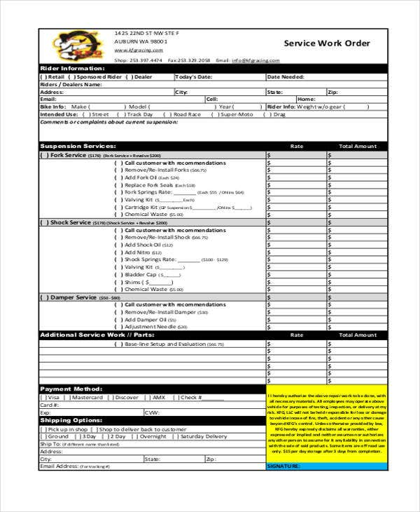 service order templates 7 free word pdf format download free