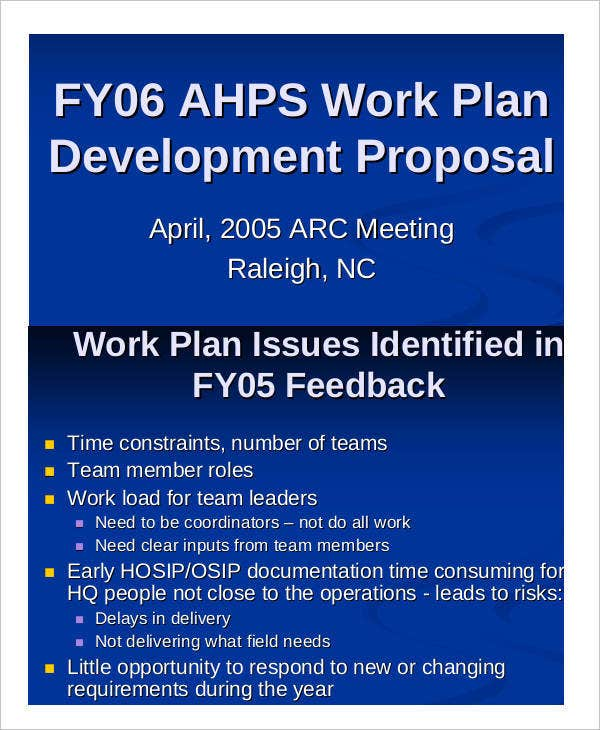 Work Plan Development Proposal