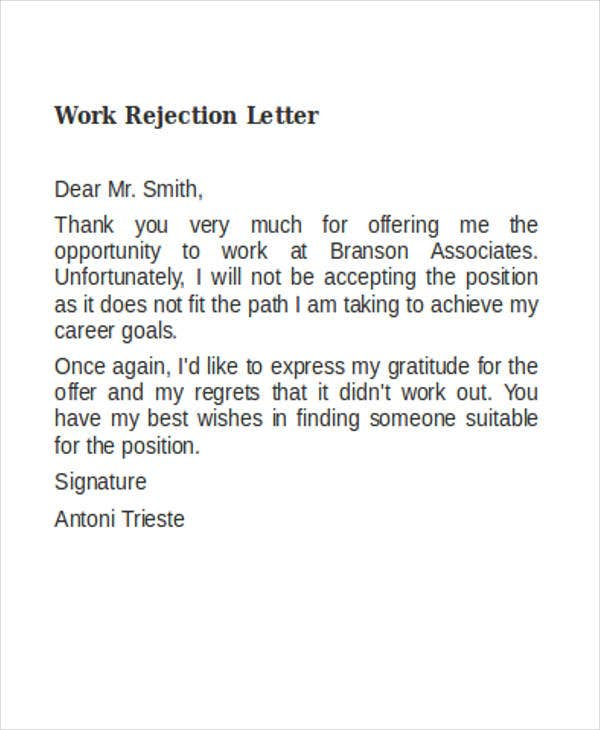 work rejection letter