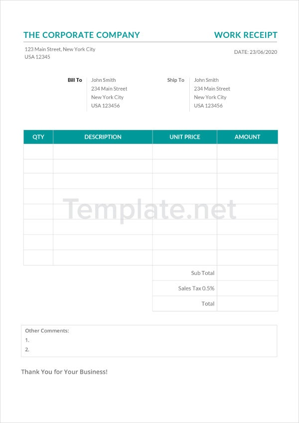 Work Receipt Templates