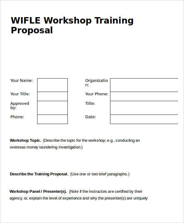 Workshop Training Proposal