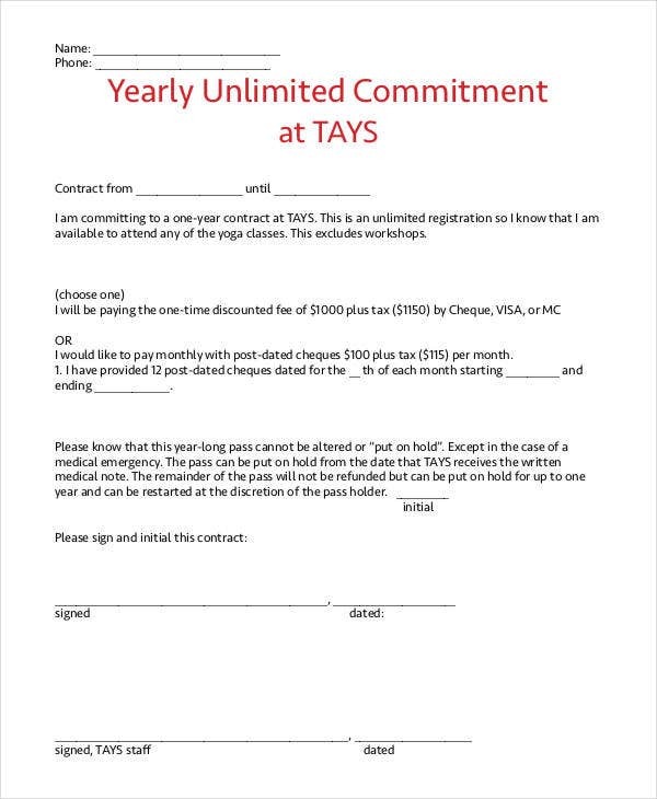 Yearly Contract Templates - 7+ Free Word, Pdf Format Download