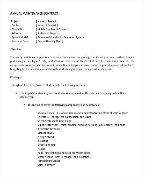 Yearly Contract Templates   Free Word Pdf Format Download