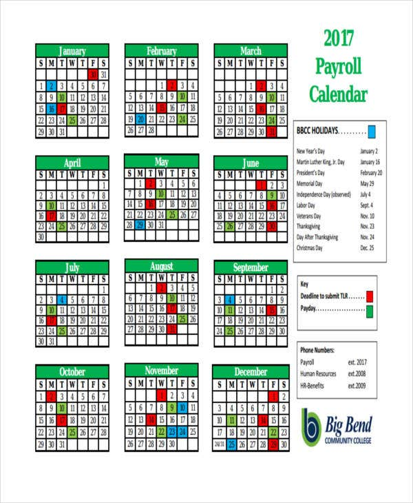 Perfect Yearly Payroll Calendar Template  Payroll Schedule Template