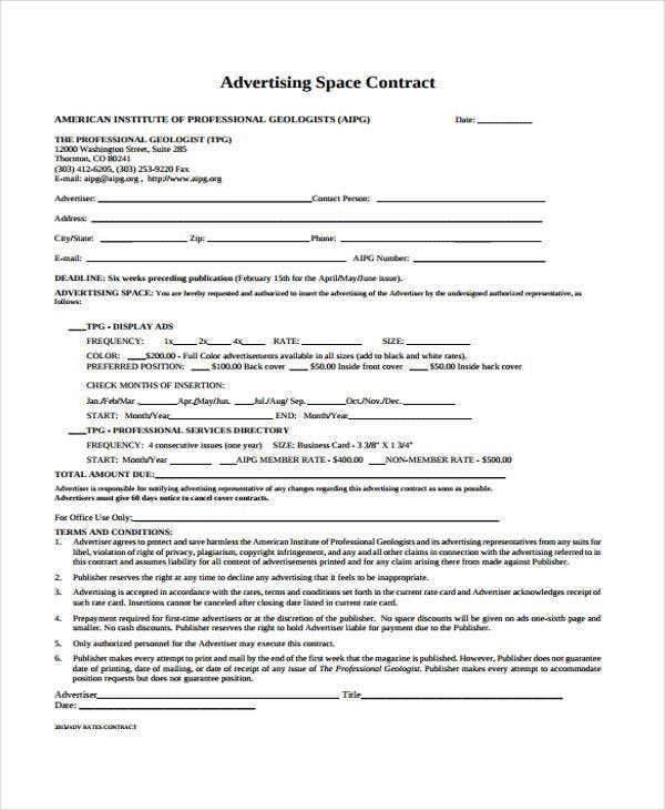 9 advertising contract templates sample examples for Advertising contracts templates