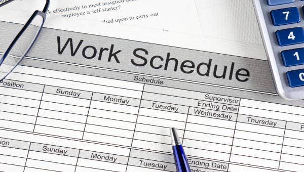 Work Schedule Template 20 Free Sample Example Format