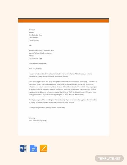 free scholarship thankyou letter