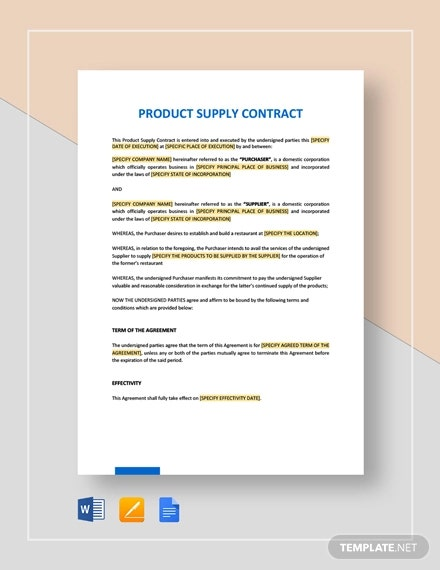 product supply contract