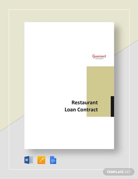 restaurant loan contract