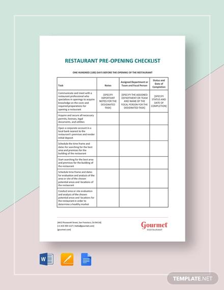 restaurant pre opening checklist
