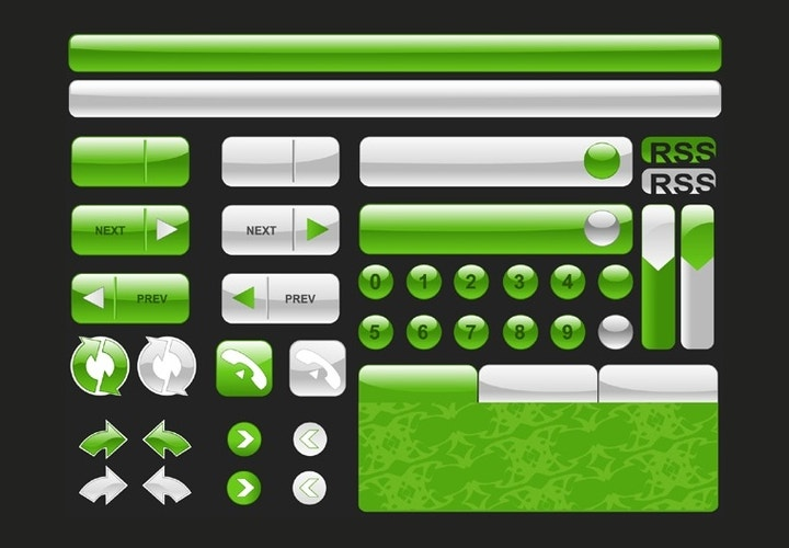 shiny green buttons