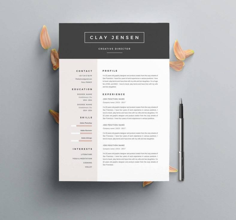 a4 customizable resume  788x733