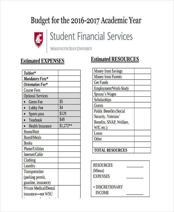 academic budget in pdf