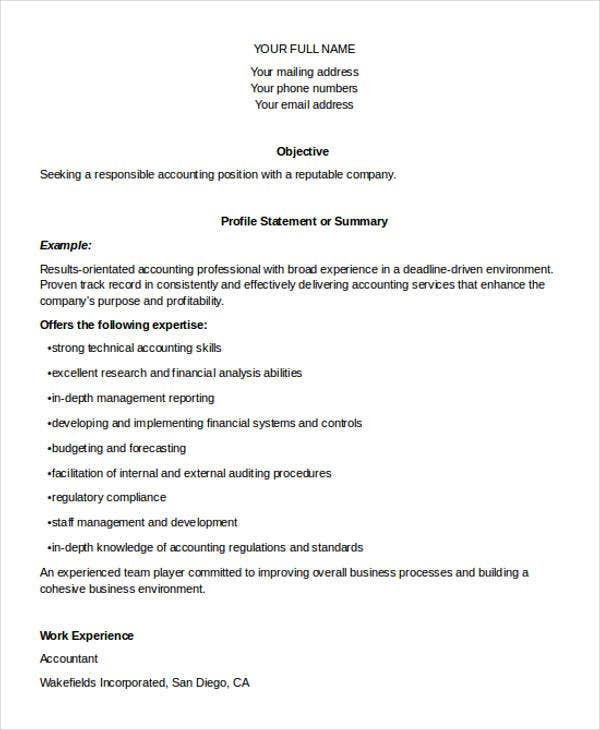 accountant job resume