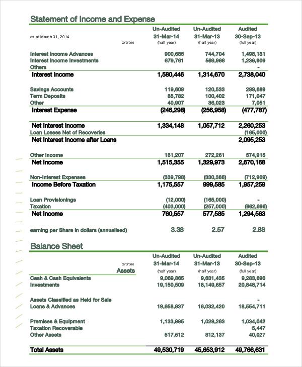 accounting expense balance sheet