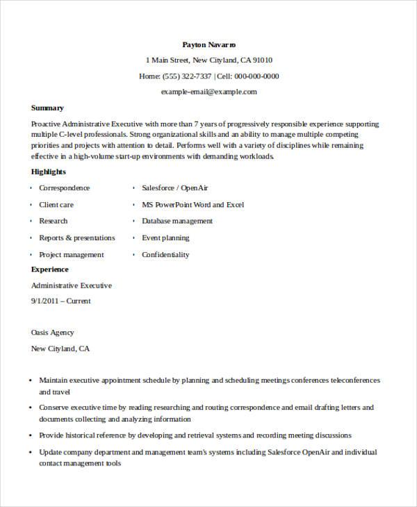 admin executive resume1