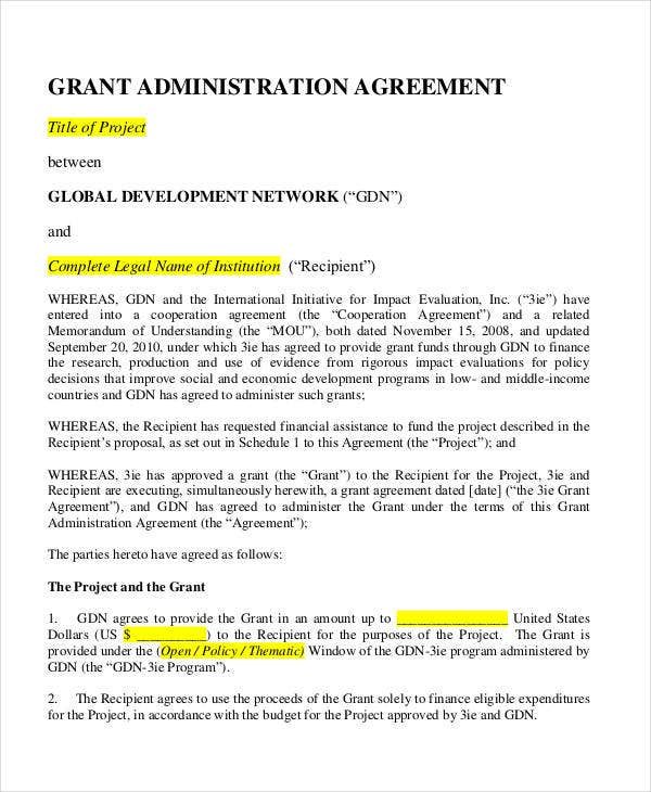 administration grant agreement