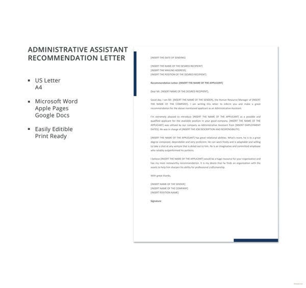 administrative assistant recommendation letter template