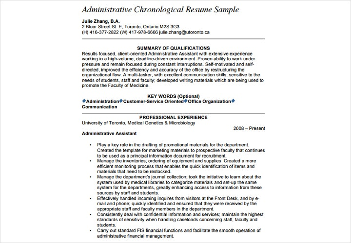 administrative chronological resume