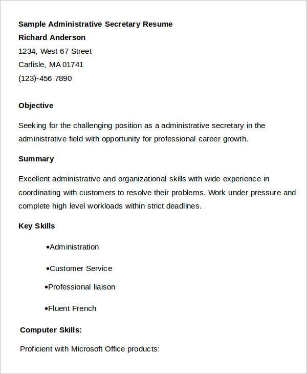 Administrative Secretary Work Resume