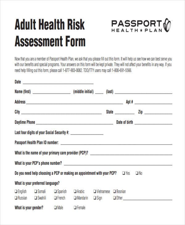 adult health risk assessment1