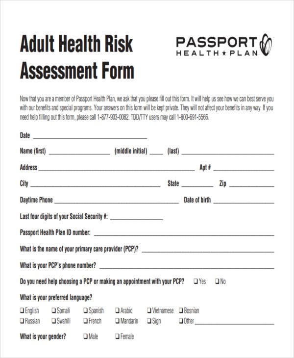 24+ Risk Assessment Form Templates | Free & Premium Templates