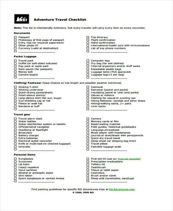 ... Sample Vacation Checklist
