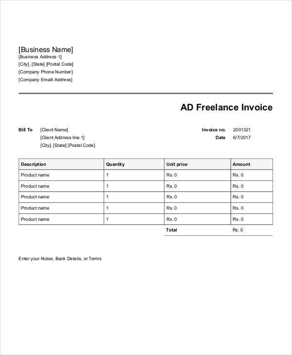 8  advertising invoice templates
