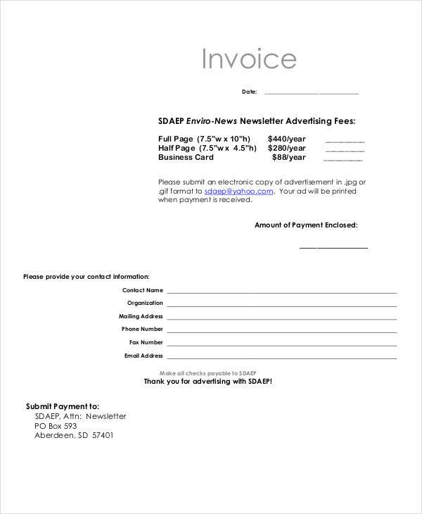 6 Advertising Invoice Templates Free Sample Example Format