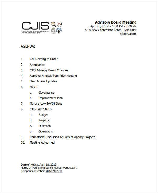 advisory board meeting agenda