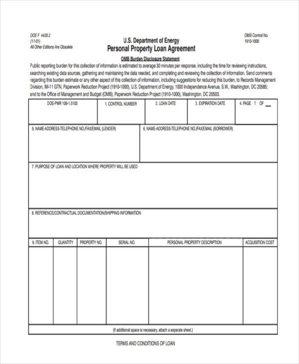Loan Agreement Form Templates  Free  Premium Templates