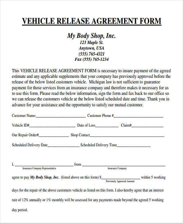 agreement form for vehicle release