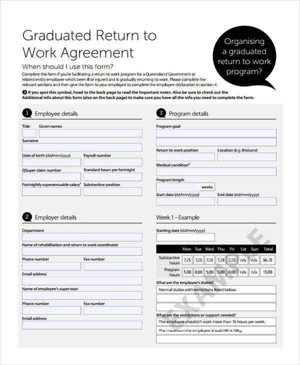 agreement for return to work