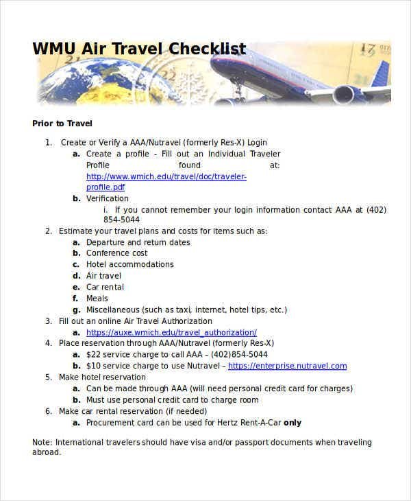 air travel checklist
