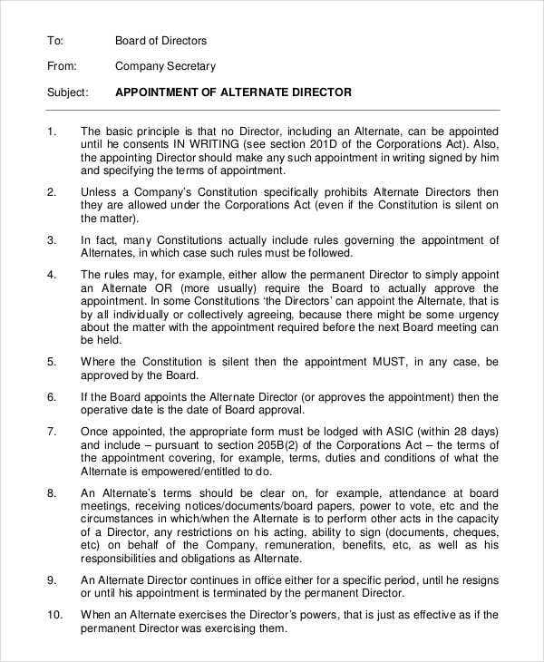 director appointment letters