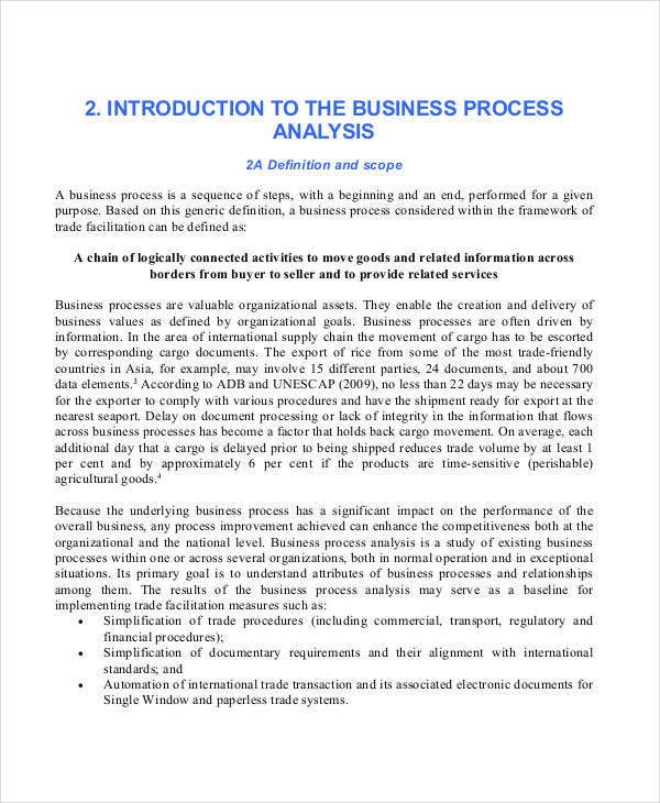 analysis for business process