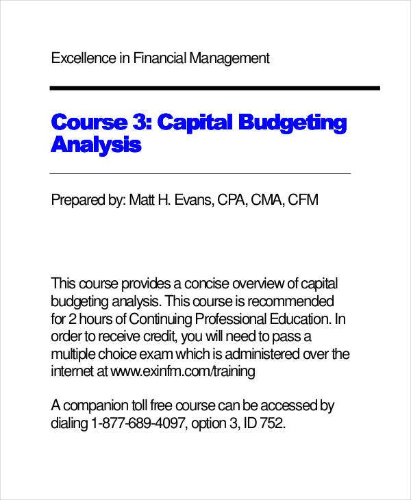 analysis for capital budget