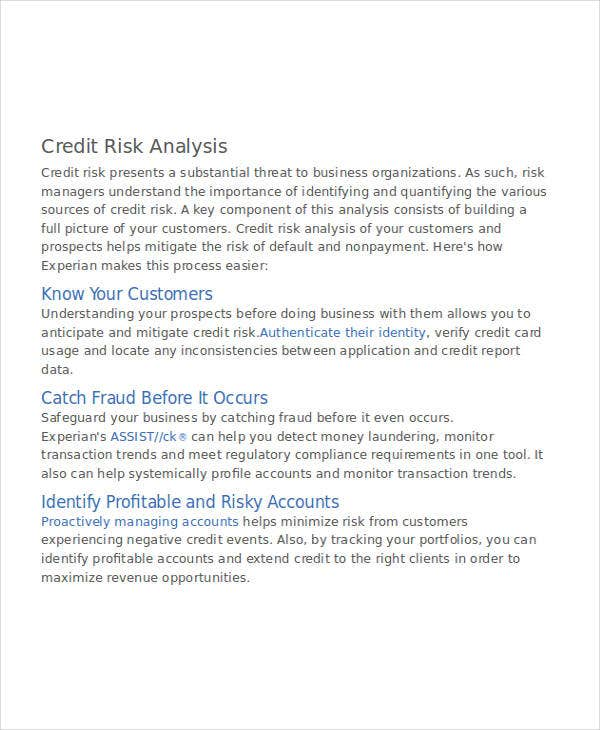 analysis for credit risk