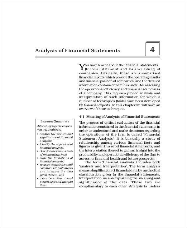 analysis for financial statement
