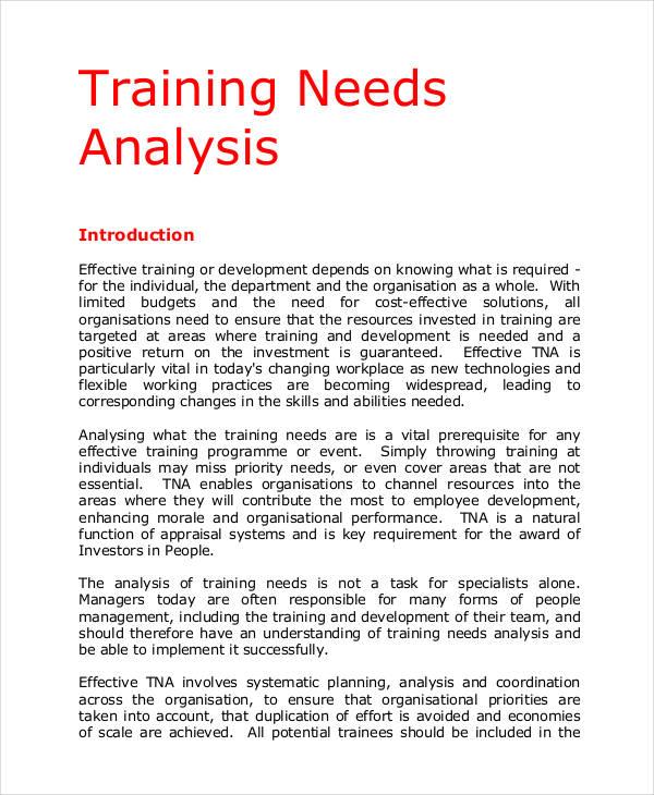 analysis for training needs