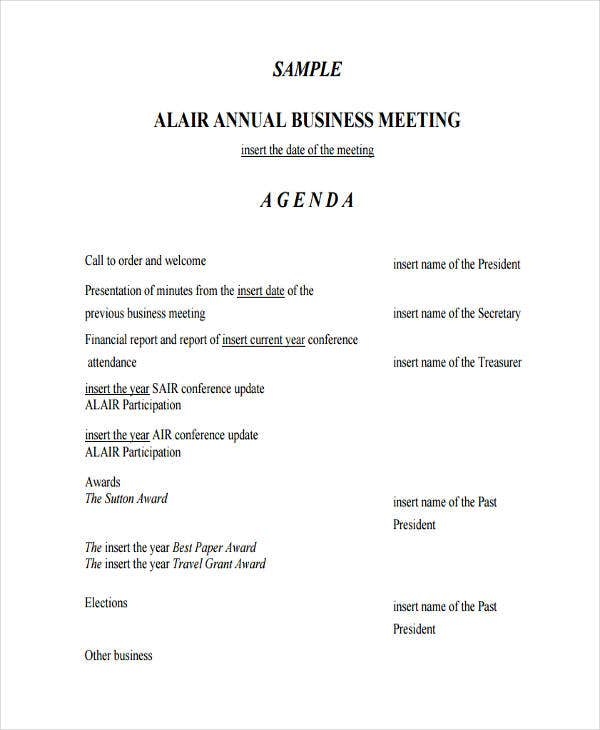 46 meeting agenda templates free premium templates for Annual corporate minutes template free