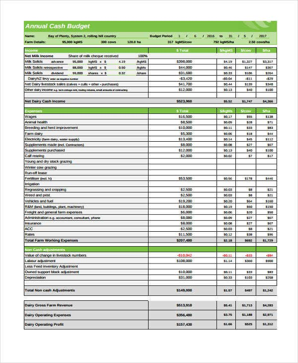 annual household budget template - 10 cash budget templates free sample example format