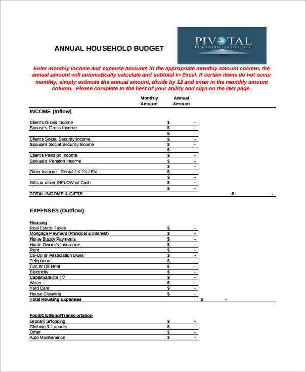 annual household budget